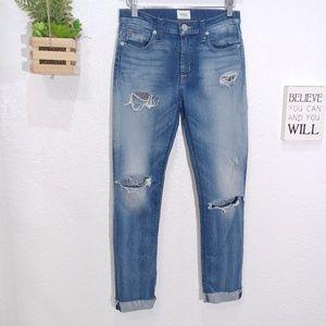 Hudson Shine mid rise Ankle Skinny Raw hem Jeans